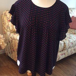 Polka dot flutter sleeve blouse
